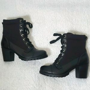 OXOX Combat Dttled Mid Heel Boots